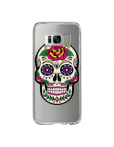 Coque Samsung S8 Tête de Mort Mexicaine Fleurs Transparente - Laetitia