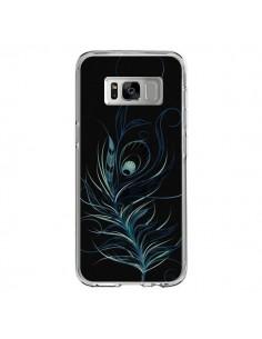 Coque Samsung S8 Feather Plume Noir Bleu - LouJah