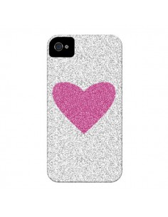 Coque Coeur Rose Argent Love pour iPhone 4 et 4S - Mary Nesrala