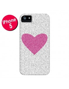 Coque Coeur Rose Argent Love pour iPhone 5 et 5S - Mary Nesrala