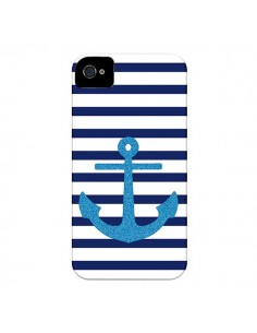 Coque Ancre Voile Marin Navy Blue pour iPhone 4 et 4S - Mary Nesrala