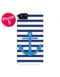 Coque Ancre Voile Marin Navy Blue pour iPhone 5 et 5S - Mary Nesrala