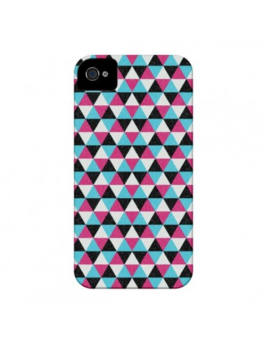 Coque Azteque Triangles Rose Bleu Gris pour iPhone 4 et 4S - Mary Nesrala
