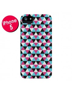 Coque Azteque Triangles Rose Bleu Gris pour iPhone 5 et 5S - Mary Nesrala