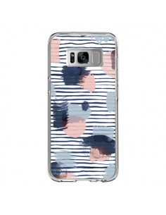 Coque Samsung S8 Watercolor Stains Stripes Navy - Ninola Design