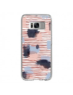 Coque Samsung S8 Watercolor Stains Stripes Red - Ninola Design