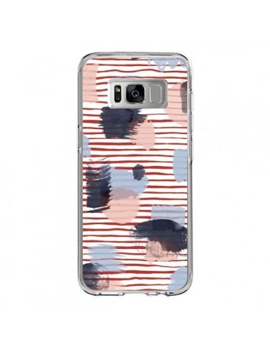 Coque Samsung S8 Watercolor Stains Stripes Red - Ninola Design