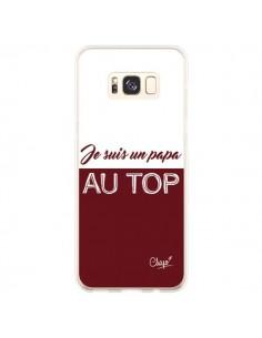 Coque Samsung S8 Plus Je suis un Papa au Top Rouge Bordeaux - Chapo