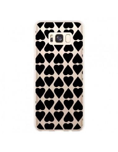 Coque Samsung S8 Plus Coeurs Heart Noir Transparente - Project M