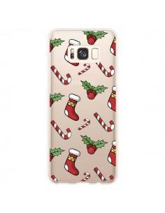 Coque Samsung S8 Plus Chaussette Sucre d'Orge Houx de Noël transparente - Nico