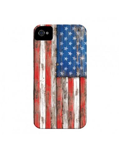 Coque Drapeau USA Vintage Bois Wood pour iPhone 4 et 4S - Maximilian San