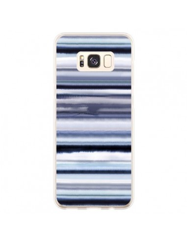 Coque Samsung S8 Plus Degrade Stripes Watercolor Navy - Ninola Design