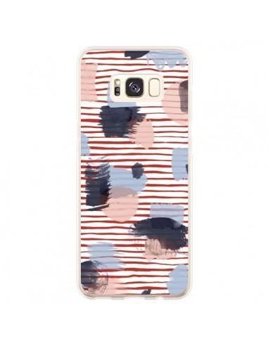 Coque Samsung S8 Plus Watercolor Stains Stripes Red - Ninola Design