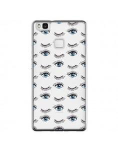 Coque Huawei P9 Lite Eyes Oeil Yeux Bleus Mosaïque Transparente - Léa Clément