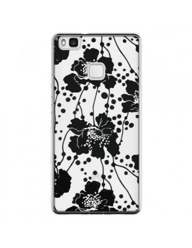 Coque Huawei P9 Lite Fleurs Noirs Flower Transparente - Dricia Do