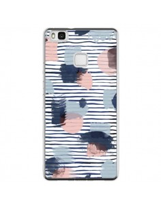 Coque Huawei P9 Lite Watercolor Stains Stripes Navy - Ninola Design