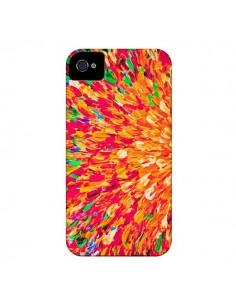Coque Fleurs Oranges Neon Splash pour iPhone 4 et 4S - Ebi Emporium