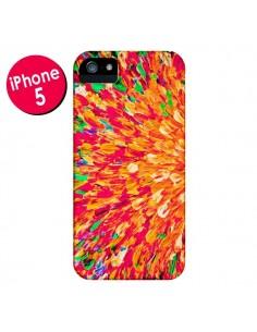 Coque Fleurs Oranges Neon Splash pour iPhone 5 et 5S - Ebi Emporium