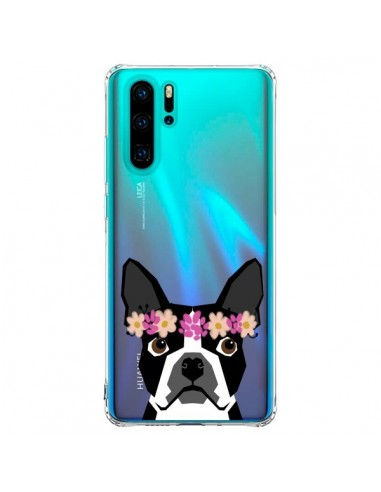 Coque Huawei P30 Pro Boston Terrier Fleurs Chien Transparente - Pet Friendly