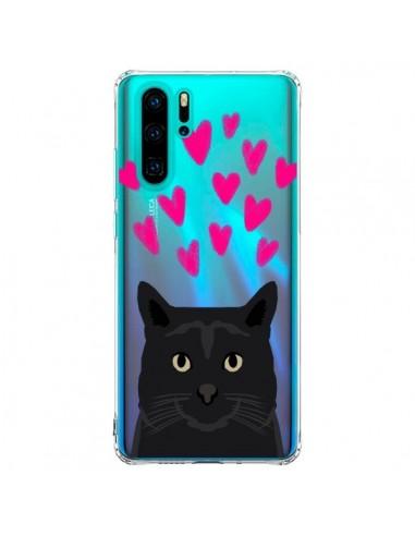 Coque Huawei P30 Pro Chat Noir Coeurs...