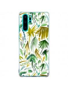 Coque Huawei P30 Pro Brushstrokes Tropical Palms Green - Ninola Design