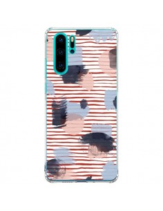 Coque Huawei P30 Pro Watercolor Stains Stripes Red - Ninola Design