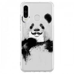 Coque Huawei P30 Lite Funny Panda Moustache Transparente - Balazs Solti
