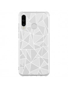 Coque Huawei P30 Lite Lignes Grilles Triangles Grid Abstract Blanc Transparente - Project M