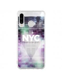 Coque Huawei P30 Lite I Love New York City Violet Vert - Javier Martinez