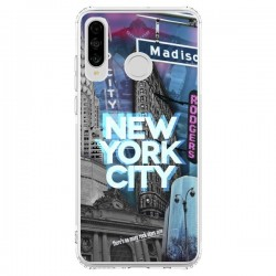 Coque Huawei P30 Lite New York City Buildings Bleu - Javier Martinez