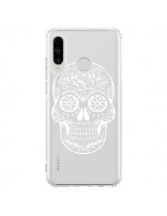 Coque Huawei P30 Lite Tête de Mort Mexicaine Blanche Transparente - Laetitia