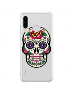 Coque Huawei P30 Lite Tête de Mort Mexicaine Fleurs Transparente - Laetitia