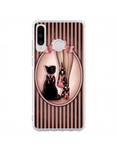 Coque Huawei P30 Lite Lady Chat Noeud Papillon Pois Chaussures - Maryline Cazenave